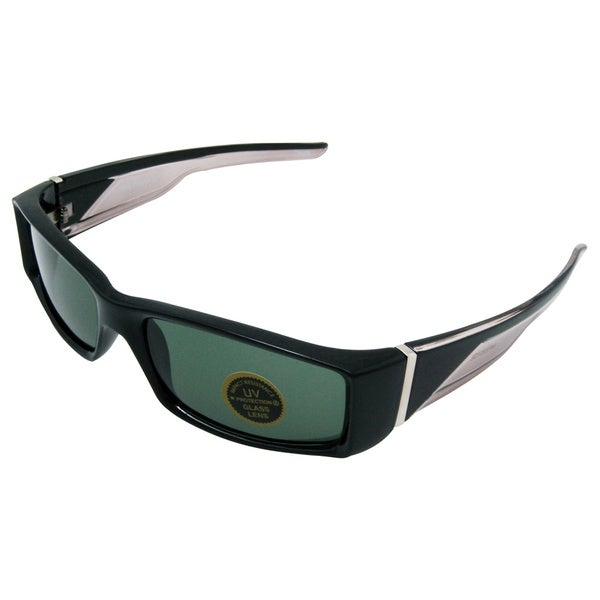 Men's 'Vivas' Black Metallic Sport Frame Sunglasses