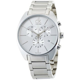 Calvin Klein Men's Exchange K2F27126 Silver Stainless-Steel Swiss Quartz Watch with Silver Dial