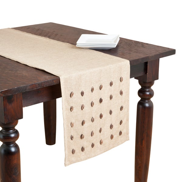 Natural Coconut Shell Buttons Table Runner