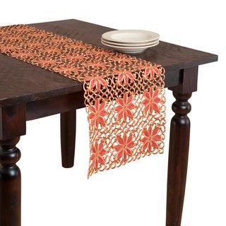 Red Poinsetta Cutwork Table Runner