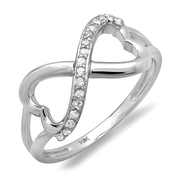 Elora 10k White Gold 1/6ct TDW Diamond Infinity Double Heart Ring (I-J, I2-I3)