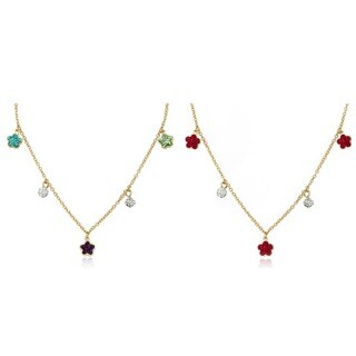 Molly Glitz 14k Gold Overlay Children's Crystal Flower and Ball Necklace