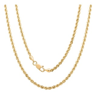Gold-Plated Bronze Italian Laser-Cut Rope Chain