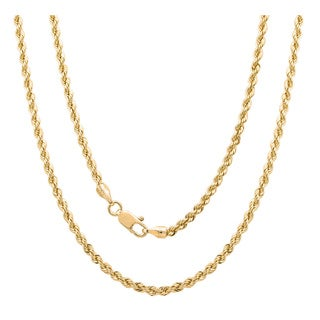 Gold-Plated Bronze Italian Laser-Cut Rope Chain (Option: 20 Inch)