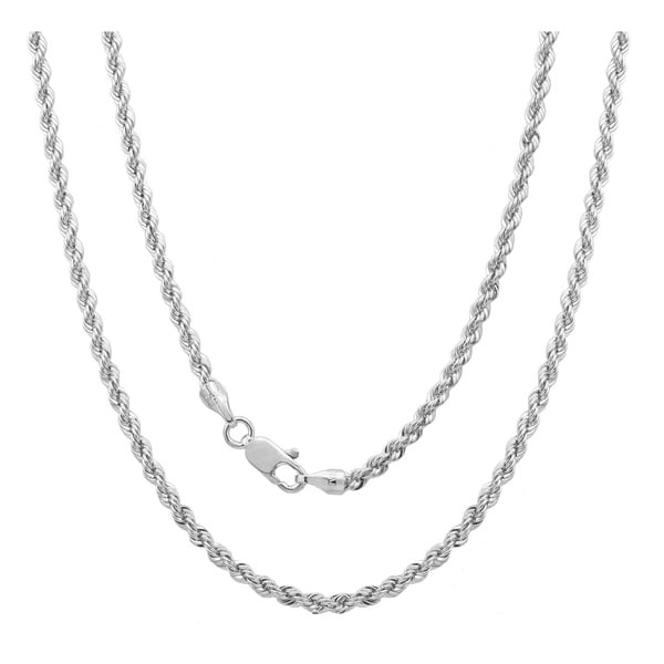 Rhodium Plated Italian 3 mm Laser-Cut Rope Chain (18-30 Inch). Opens flyout.