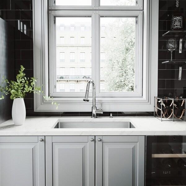 VIGO Mercer Stainless Steel Kitchen Sink and Harrison Faucet Set