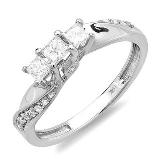 10k Gold 1/2ct TDW Diamond 3-Stone Swirl Engagement Ring