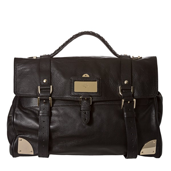 Mulberry Oversized Black Leather Day Satchel