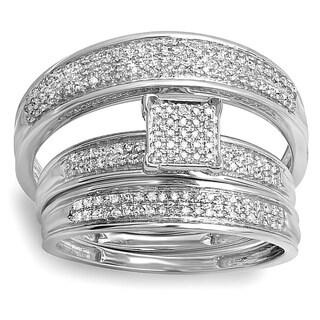 10k gold 12ct tdw mens womens micro pave matching diamond wedding set - Overstock Wedding Rings