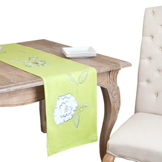 Pastel Lime Flower Embroidered Table Runner