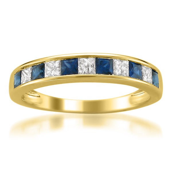 Montebello 14k Yellow Gold Sapphire and 1/4ct TDW Diamond Band