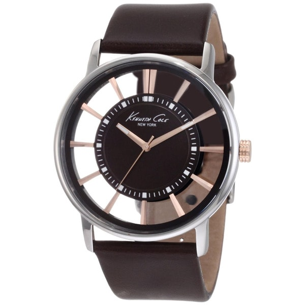 Kenneth Cole Men's 'Transparency KC1781' Brown Calf Skin Brown Dial Quartz Watch