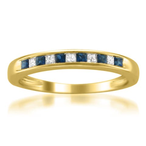 Montebello 14KT Yellow Gold Sapphire and 1/10ct TDW Diamond Band