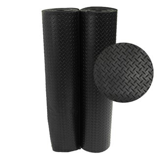 Rubber-Cal Diamond-Plate Rubber Floor Mats - 1/8 x 48-inch Rubber Runner Black 8 Available Lengths (More options available)