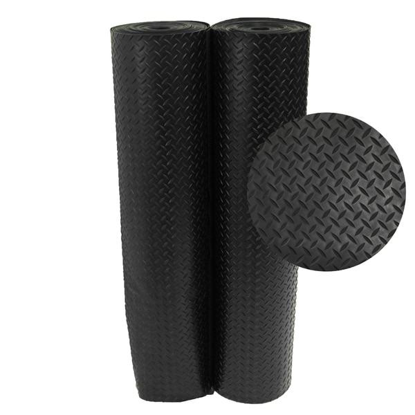 Shop Rubber Cal Black Diamond Plate Rubber Floor Mats