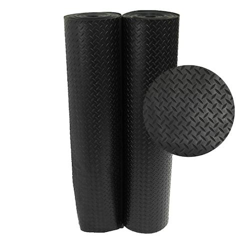 Rubber-Cal Black Diamond-Plate Rubber Floor Mats