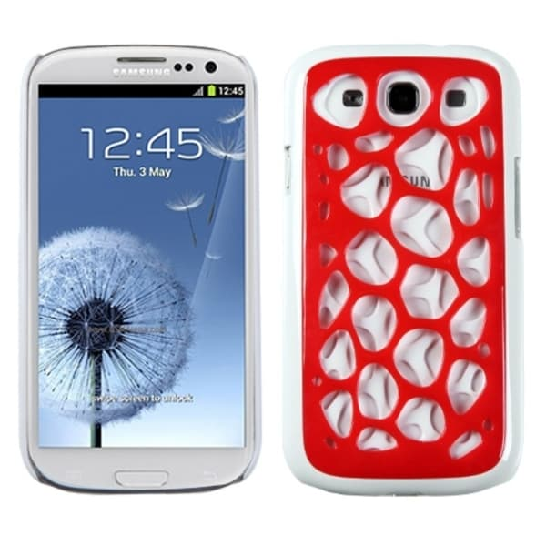 INSTEN Red/ White Net Phone Case Cover for Samsung Galaxy S3/ III i9300