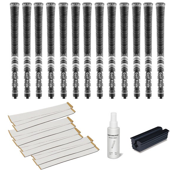 Golf Pride MCC Midsize Black - 13pc Grip Kit (with tape, solvent, vise clamp)