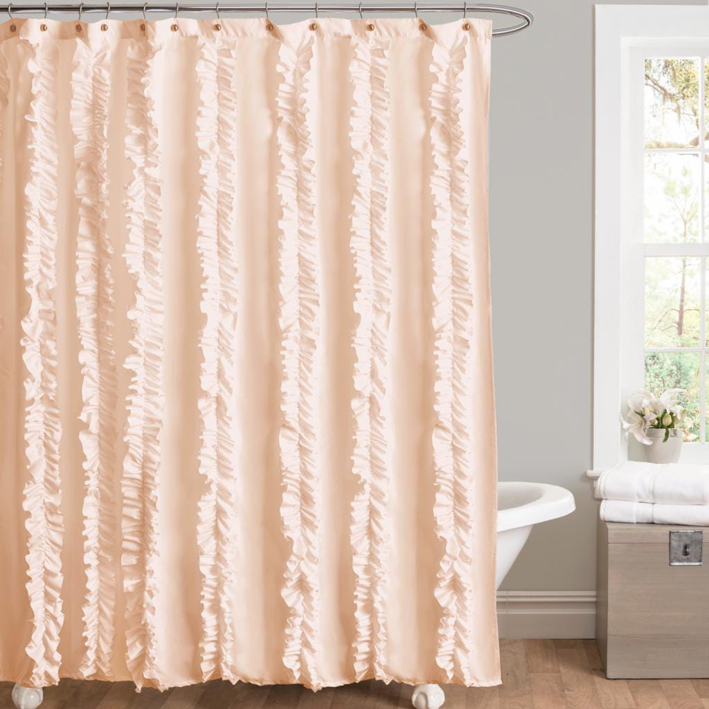 Shop Black Friday Deals On Lush Decor Belle Peach Ruffled Shower Curtain Overstock 21427004