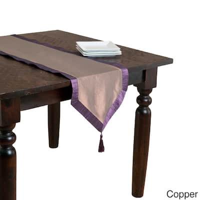 Iridescent Table Runner with Contrasting Border & Tassel