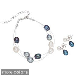 Pearlyta Sterling Silver Multi-colored FW Pearl Bracelet and Earring Set (7-8 mm) (Option: Blue)|https://ak1.ostkcdn.com/images/products/8238188/Pearlyta-Sterling-Silver-Multi-colored-FW-Pearl-Bracelet-and-Earring-Set-7-8-mm-P15566164.jpg?impolicy=medium