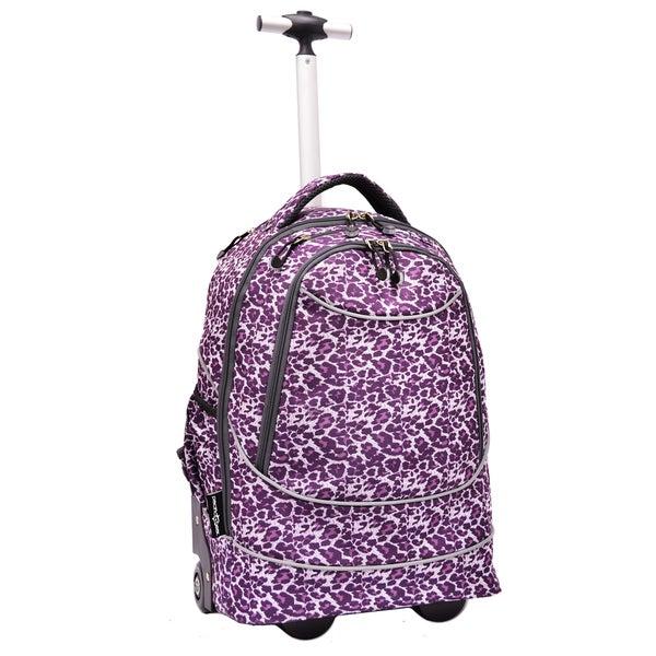 Pacific Gear Horizon Purple Leopard Rolling Laptop Backpack