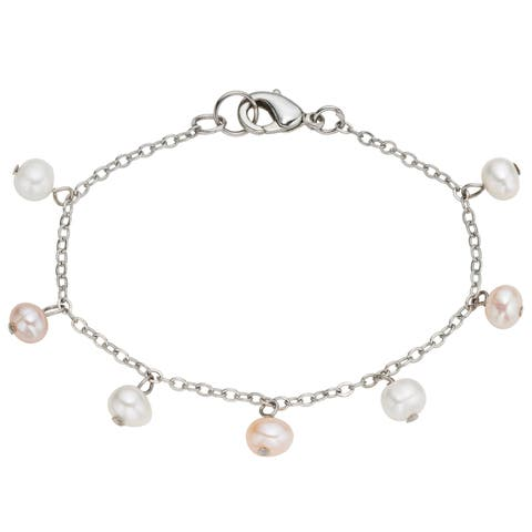 Pearlyta Kid's Stainless Steel Freshwater Pearl Chain Anklet (4-5 mm) - Pink
