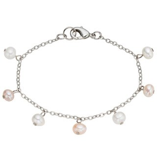 Pearlyta Kid's Stainless Steel Freshwater Pearl Chain Anklet (4-5 mm)