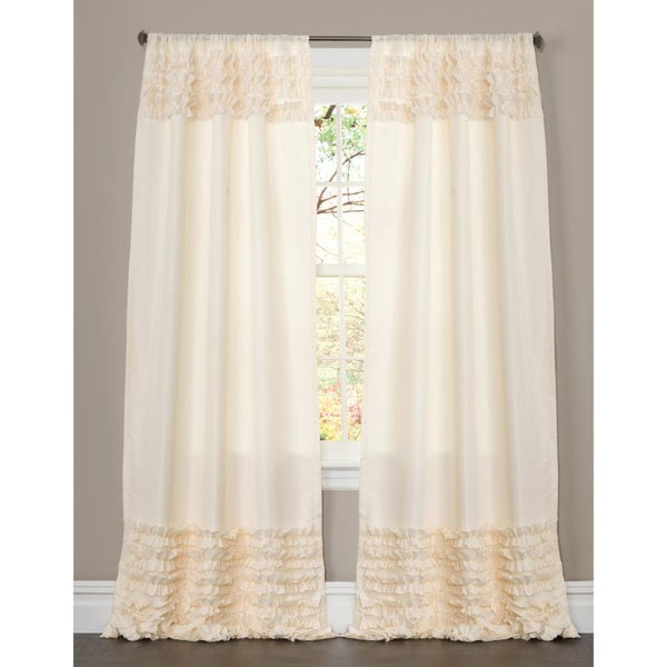 Lush Decor Skye Ivory Ruffled 84 Inch Curtain Panel Free