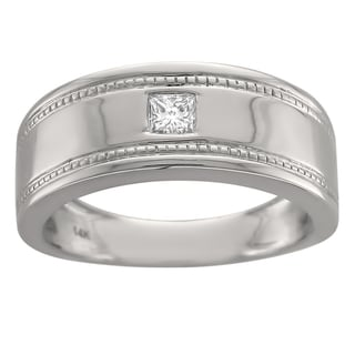 Brides Across America by Montebello 14k White Gold Men's 1/6ct Diamond Grooved Wedding Band (G-H, SI1-SI2)