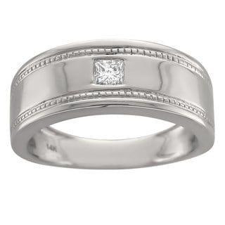 Montebello 14k White Gold Men's 1/6ct Diamond Grooved Wedding Band