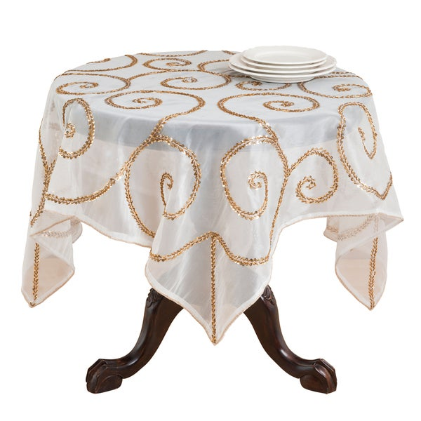 Attractive Hand Beaded Table Linens (Table Topper Or Table Runner)