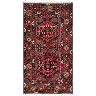 Herat Oriental Afghan Hand-knotted Tribal Balouchi Dark Grey/ Brown Wool Rug (3'4 x 6'1)