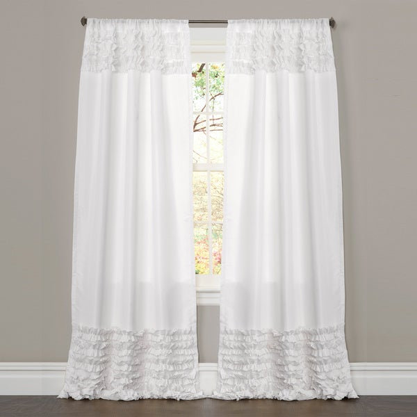 Lush Decor White 84-inch Skye Ruffled Window Curtain - 15566533 ...