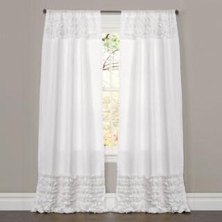 Lush Decor White 84-inch Skye Ruffled Window Curtain