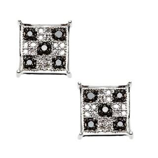 Elora Sterling Silver 1/4ct TDW Black and White Diamond Earrings (I-J, I2-I3)