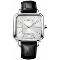 Calvin Klein Men's Black Leather Swiss Quartz Silver Dial Watch