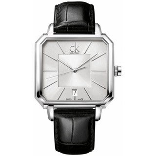 Calvin Klein Men's Black Leather Swiss Quartz Silver Dial Watch