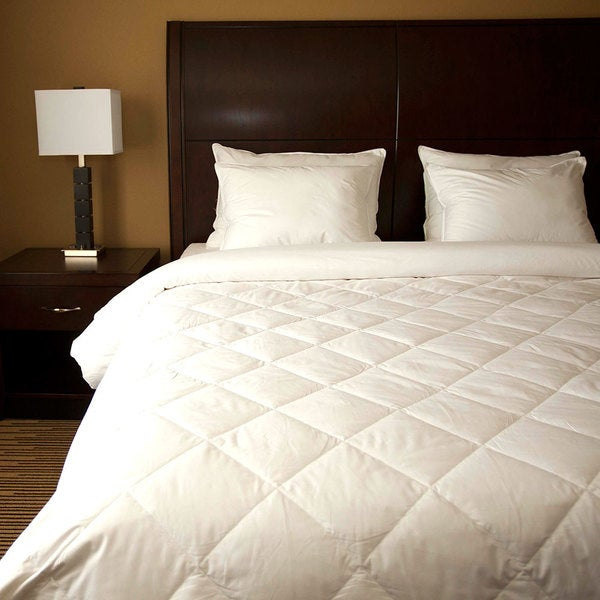 Diamond Quilted White Down Blanket. Opens flyout.
