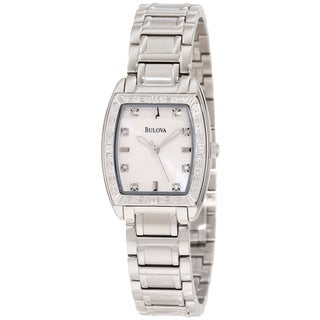Bulova Women's Diamond Silver Stainless Steel Quartz Mother-Of-Pearl Dial Watch