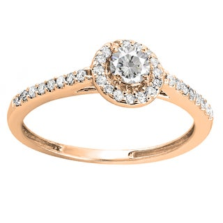 14k Gold 1/2ct TDW Round Prong-set Diamond Engagement Ring