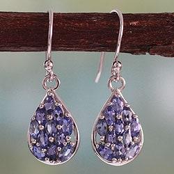 Sterling Silver 'Delhi Daydreams' Tanzanite Earrings (India)