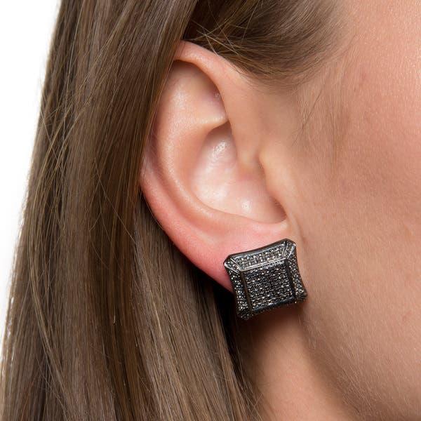 Elora Sterling Silver 1 5ct Tdw Black Diamond Pave Stud Earrings Overstock 8238284