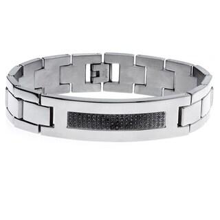Stainless Steel 3/8ct TDW Black Diamond Bracelet