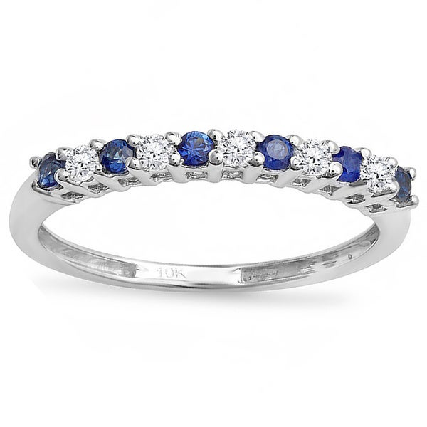 10k White Gold 1 3ct TDW Diamond and Sapphire Band I J I2 I3