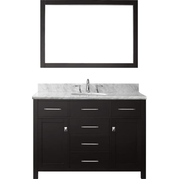 Virtu USA Caroline 48 Inch Carrara White Marble Single Sink Bathroom Vanity  Set