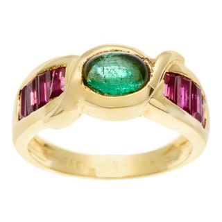 18k Yellow gold Oval Emerald and Taper Ruby Ring