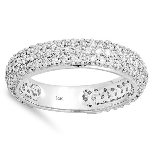 14k White Gold 1 1/3ct Diamond Pave Anniversary Band (H-I, I1-I2)