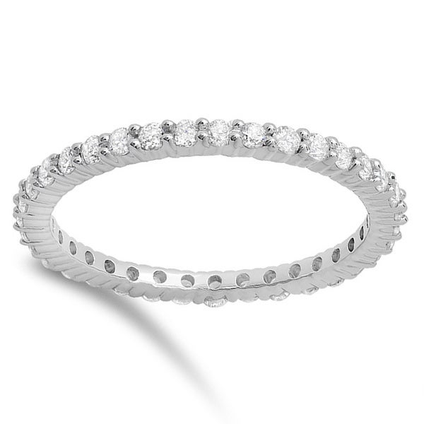 Elora 14k White Gold 4/5ct TDW Diamond Stackable Eternity Wedding Band