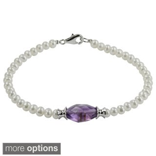 Pearls for You Sterling Silver Freshwater Pearl Amethyst or Blue Topaz Bracelet (4-4.5 mm)